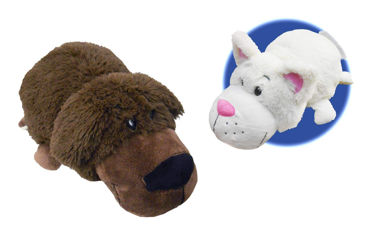 FlipaZoo 16'' Plush 2-in-1 Pillow - Chocolate Labrador Transforming To White Cat (the Toy that Flips for you)