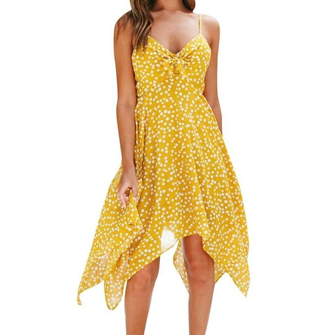 Vestidos de Mujer, ASHOP Vestido Verano 2018 Sin Mangas Casual Ajustados T-Shirt Vestido Coctel Fiesta Largo Dress Impresión de Puntos Boho Playa Falda ...