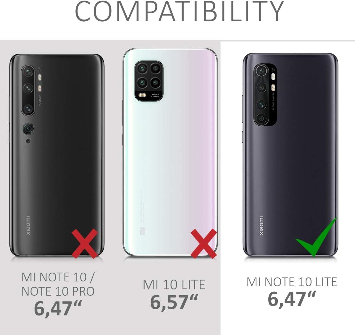Protector Trasero en petr/óleo Mate kwmobile Funda Compatible con Xiaomi Mi Note 10 Lite Carcasa de TPU Silicona