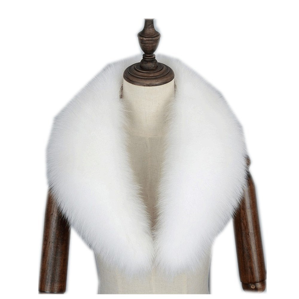Gegefur Genuine fox fur collar scarf female winter fox fur collar warm shawl (80cm, White)