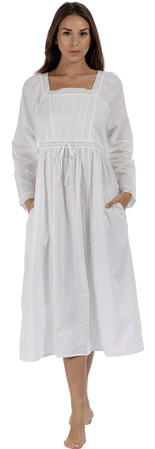 1900 -1910s Edwardian Fashion, Clothing & Costumes The 1 for U 100% Cotton Nightgown in Victorian Style with Pockets - Kayla $29.99 AT vintagedancer.com
