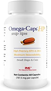 Omega-Caps HP Snip Tips for Cats & Smaller Dogs - Omega 3, EPA, DHA, Vitamins, Minerals, Antioxidants - Support Immune System, Joints, Heart, and Brain - 60 Capsules