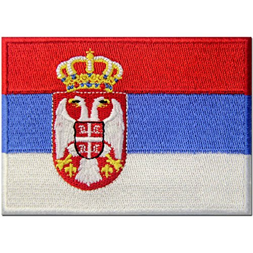Serbia Flag Embroidered Patch Serbian Balkan Iron On Sew On National Emblem