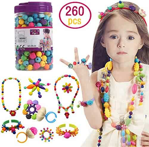 Kids Pop Snap Beads Set - Creative DIY Jewelry Making Kit for Girls Necklace and Bracelet Art Crafts Gifts Toys - 260 Pieces