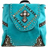 Justin West Trendy Western Cross Rhinestone Leather Conceal Carry Top Handle Square Backpack Purse (Turquoise Backpack)