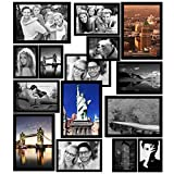 GRESATEK Magnetic Picture Frames, Photo collage Frame for Refrigerator, Hold 4 x 6, 3.5 x 5, 2.5 x 3.5 Photos on Dishwasher, School Locker, Magnetic Board and other Metallic surfaces, 15 Pack, Black