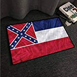 Kitchen Room Floor Mat Rug Colorful American,Mississippi Flag Square,W35 xL47 Outdoor Camping Rugs