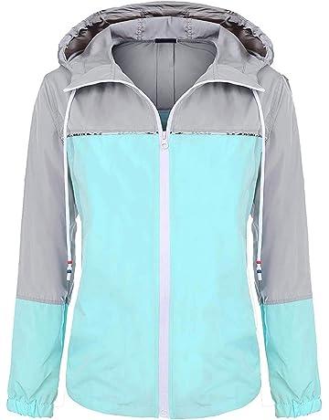 96f8fca80939 UUANG Women s Lightweight Waterproof Packable Rain Jacket Hooded Girls  Raincoat Outdoor Colorblock Windbreaker for Traveling