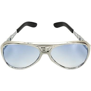 Elvis Chrome Silver Lenses Classic With Sunglasses Blue Costume Accessory H2DE9WI