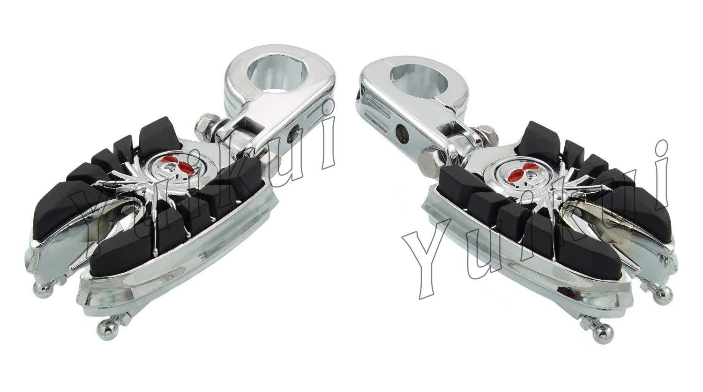 YUIKUI RACING オートバイ汎用 1-1/4インチ/32mmエンジンガードのパイプ径に対応 スカル髑髏男性マウント ハイウェイフットペグ タンデムペグ ステップ YAMAHA XVS DRAG STAR ROAD STAR/YAMAHA XV VIRAGO/RAIDER等適用   B07PV82KVP