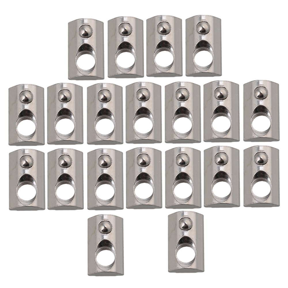 M8 40 Series Roll-in Spring T Nut Roll Ball Elastic Nuts Silver Pack of 20