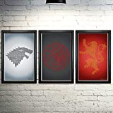 "Game of Thrones Word Art Print Three Set - 11x17"" Framed"