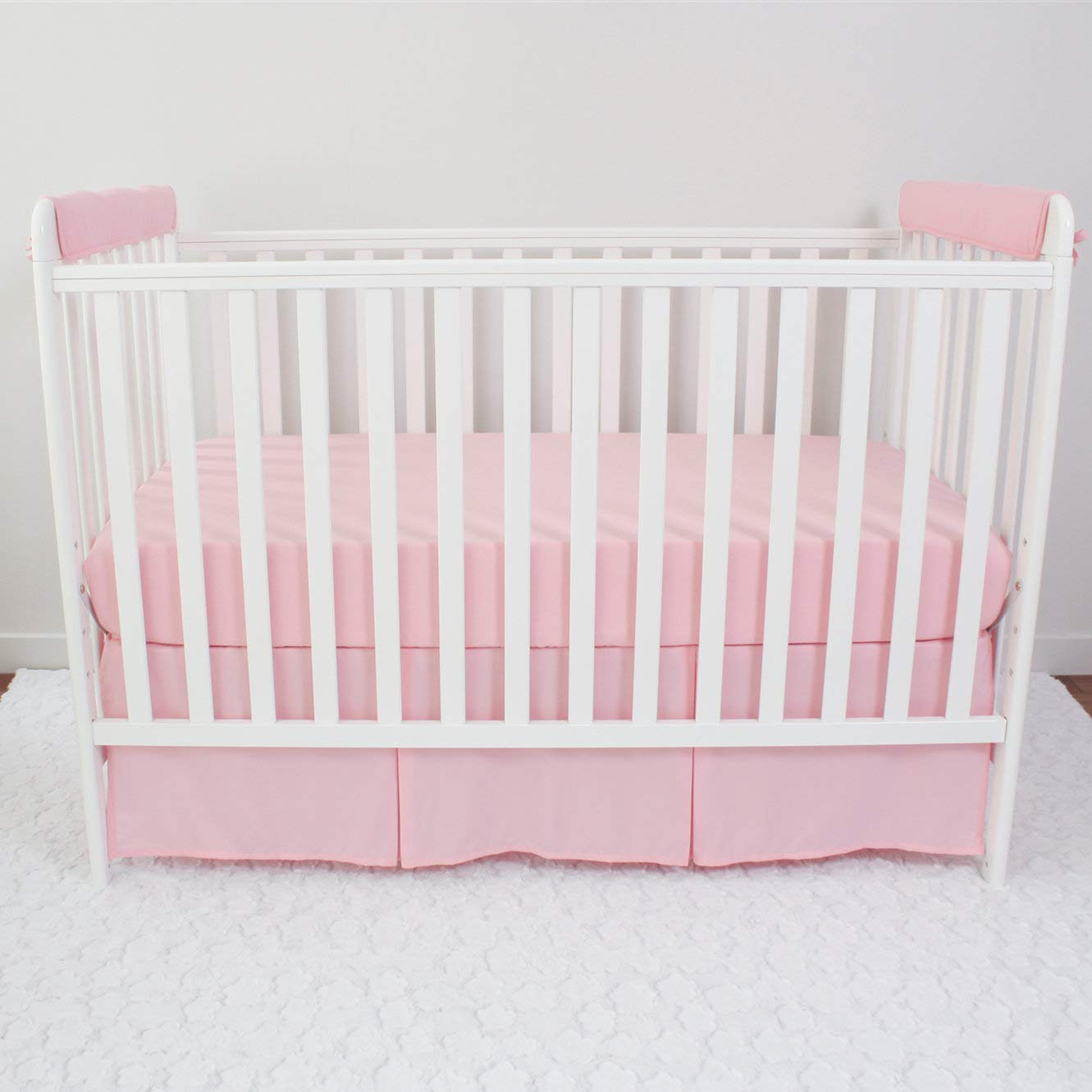 Fits Up to 8 Around or 4 Folded Safe Breathable Batting Inner for Baby Teething Guard Pink//White CaSaJa 3 Pieces Soft Reversible Microfiber Crib Rail Cover Set for 1 Front Rail and 2 Side Rails
