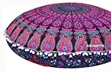 ANJANIYA 32'' Mandala Bohemian Yoga Meditation Floor Pillow Comfortable Home Car Bed Sofa Cushion Cover Couch Seating Large Zipped Throw Hippie Decorative Ottoman Boho Indian (Pink)