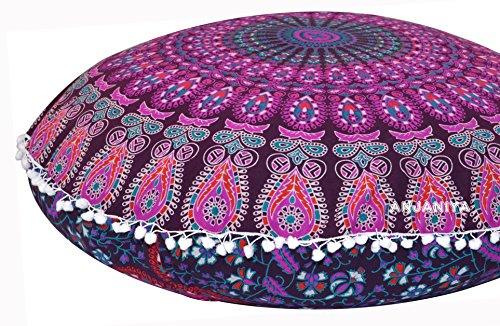 ANJANIYA 32'' Mandala Bohemian Yoga Meditation Floor Pillow Comfortable Home Car Bed Sofa Cushion Cover Couch Seating Large Zipped Throw Hippie Decorative Ottoman Boho Indian (Pink) by ANJANIYA