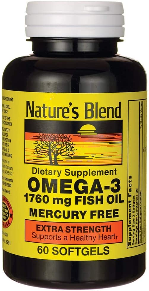 Nature's Blend Fish Oil 1760 mg Omega 3 Extra Strength - 60 Softgels