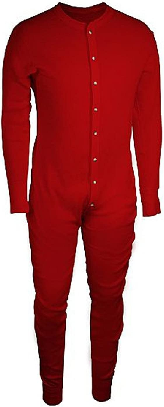 Essential Apparel Men's Waffle Knit Heavyweight Thermal Long Underwear Union Suit - Red