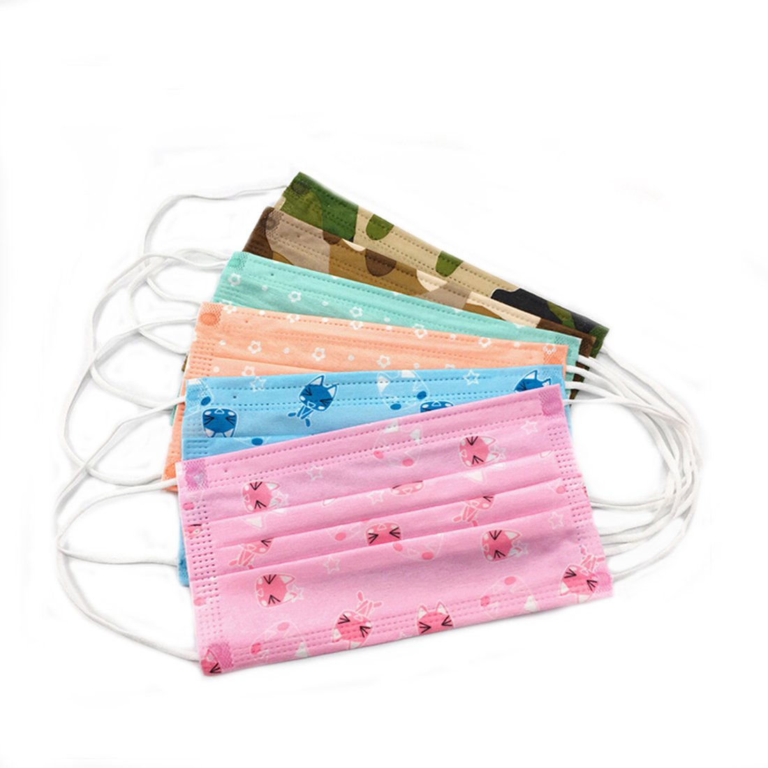 Flyusa 50 Pcs Colorful Print Disposable Earloop Non Woven Face Mask Surgical Dust Filter Mouth Cover