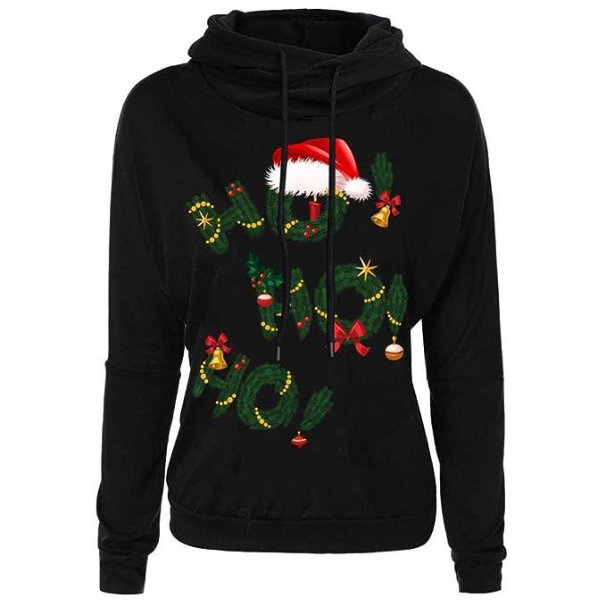 Sudaderas con capucha Koly Mujer Navidad Carta Impresión Parte superior Pullover Sudaderas Capa Sweatshirts Coat ropa