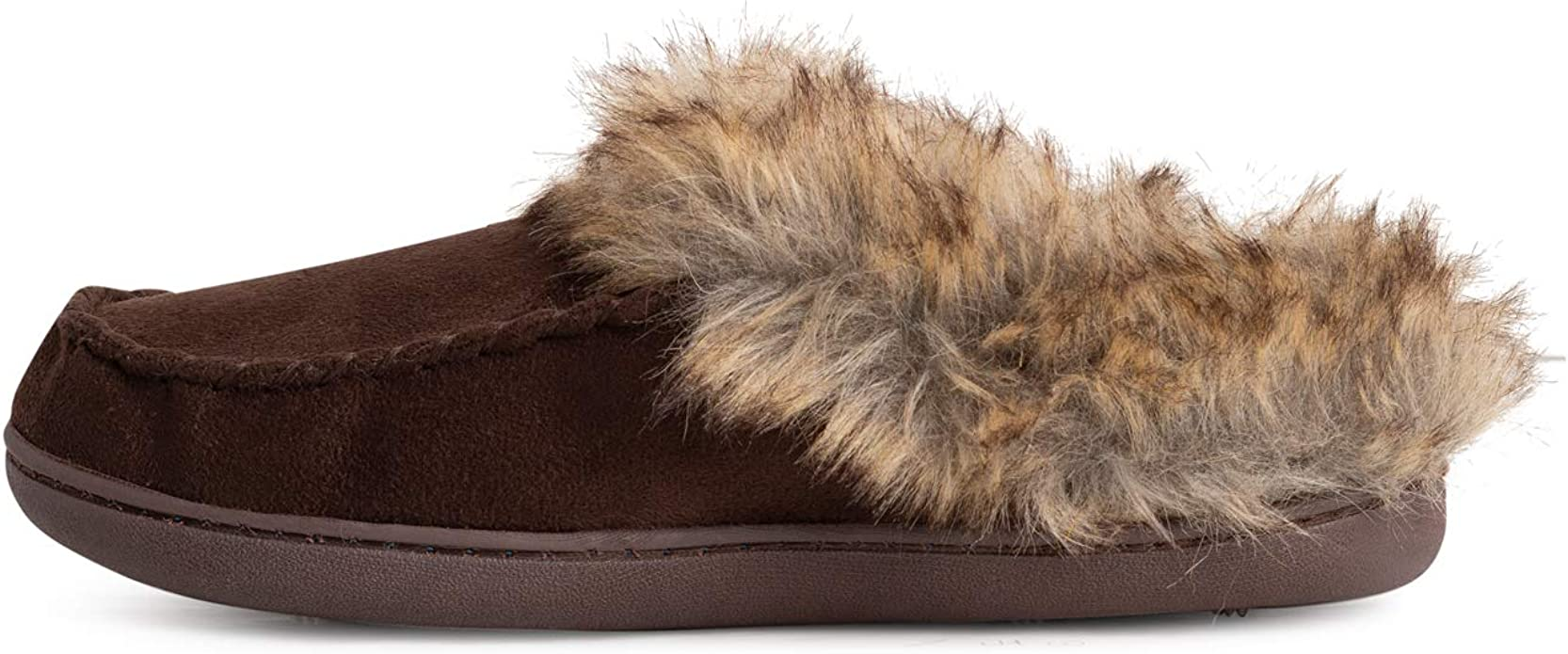 Memorygou Womens Moccasins Slippers Fur Lined Slip On Suede Indoor Outdoor Winter Shoes Non-Slip Green US 10