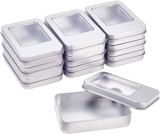 BENECREAT 10 Pack Rectángula Caja de Almacenamiento de Metal con Pequeña Ventana Transparente para Organizar Artículos Pequeños Apta para Viaje: Amazon.es: Hogar