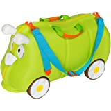 TecTake Valigia bagaglio cavalcabile con ruote per bambini verde