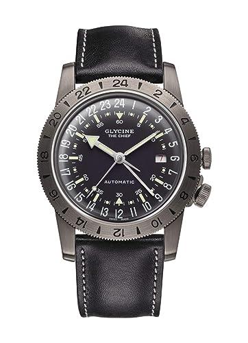 Glycine Airman Reloj para Hombre Analógico de Automático Suizo con Brazalete de Piel de Vaca GL0246: Amazon.es: Relojes