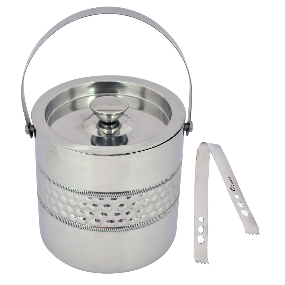 Kosma Designer Double Wall Stainless Steel Ice Bucket with Ice Tongs - 15 x 18cm | Ice Cube Bucket (Bubble Effect)