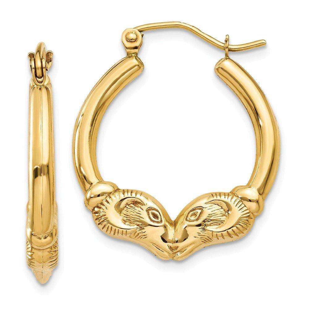 Mia Diamonds 14k Yellow Gold Polished Ram Hoop Earrings