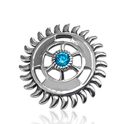 f6066ac3646 Buy fourseven 925 Sterling Silver Sudarshan Chakra Brooch Charm with Blue  Topaz for Best Gift for Men and Women Online at Low Prices in India |  Amazon ...