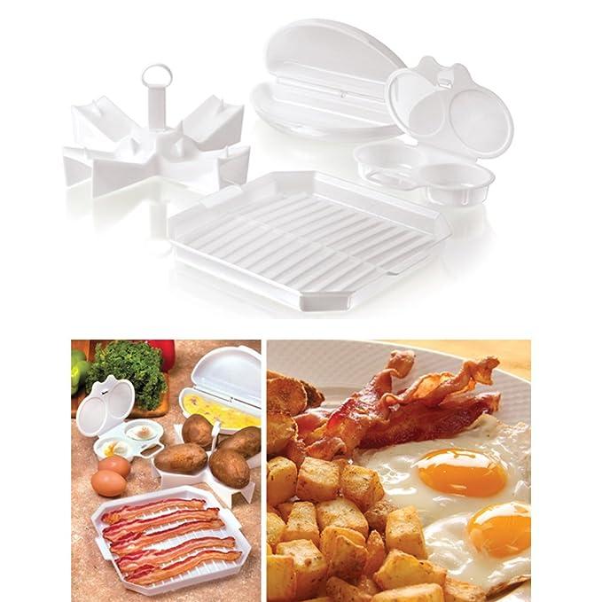 Amazon.com: 4 pieza Microondas Starter Set Bandeja de huevos ...