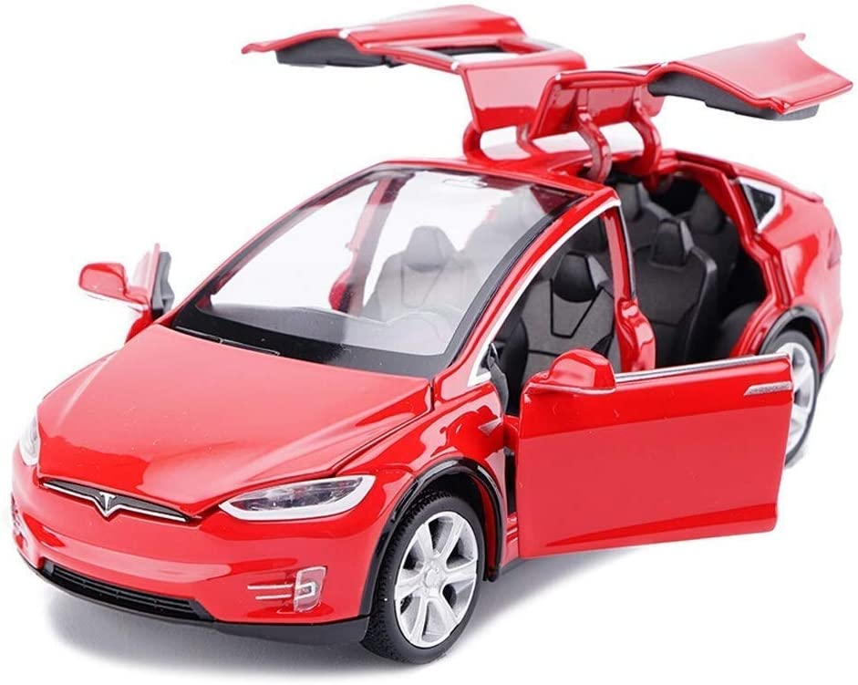 ANTSIR Car Model X 1:32 Scale Alloy diecast Pull Back Electronic Toys with Lights and Music,Mini Vehicles Toys for Kids Gift (Red)