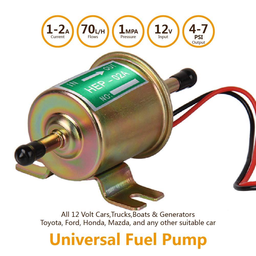 Bomba de combustible eléctrica 12 V Universal Metal 4-7 PSI baja ...