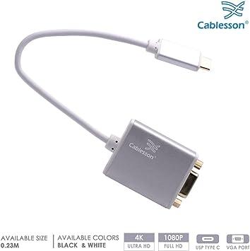 Cablesson USB Tipo C Macho a Adaptador Hembra VGA con Carcasa de Aluminio 0.23M 1080P a 60Hz para Macbook Pro, Macbook, Google Chromebook Pixel, DELL XPS 13/15, Lenovo Yoga 900: Amazon.es: Electrónica