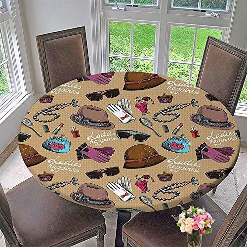 Mikihome Modern Simple Round Tablecloth Ancient Lady Women Decor Parfume Hats Lipsticks Gloves Artwork Light Brown Taupe Mauve Decoration Washable 63