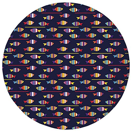 Weeosazg Round Rug Mat Carpet,Fish,Rainbow Patterned Aquatic Creatures Silhouettes and Stripes Marine Fauna Aquarium,Multicolor,Flannel Microfiber Non-Slip Soft Absorbent,for Kitchen Floor Bathroom - Patterned Dial Round