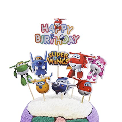 Party Hive 9pc Super Wing Cake Toppers for Birthday Party Event Decor