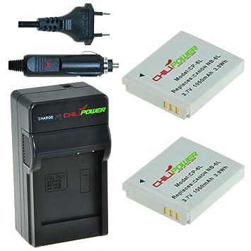 2x Batería + Cargador ChiliPower Canon NB-6L, CB-2LY 1100mAh para Canon PowerShot D10, D20, S90, S95, S120, SD770 IS, SD980 IS, SD1200 IS, SD1300 IS, ...