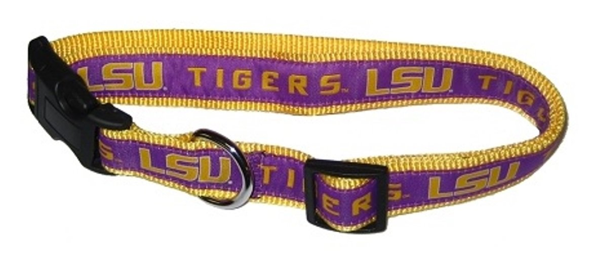 NCAA Official Size Medium Pets First LSU Tigers Nylon Collar and Matching Nylon Leash for Pets