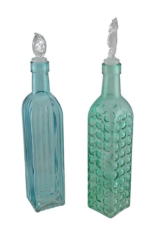 Cristal decorativo botellas azul y verde 2 piezas Juego de botella de vidrio decorativas W/