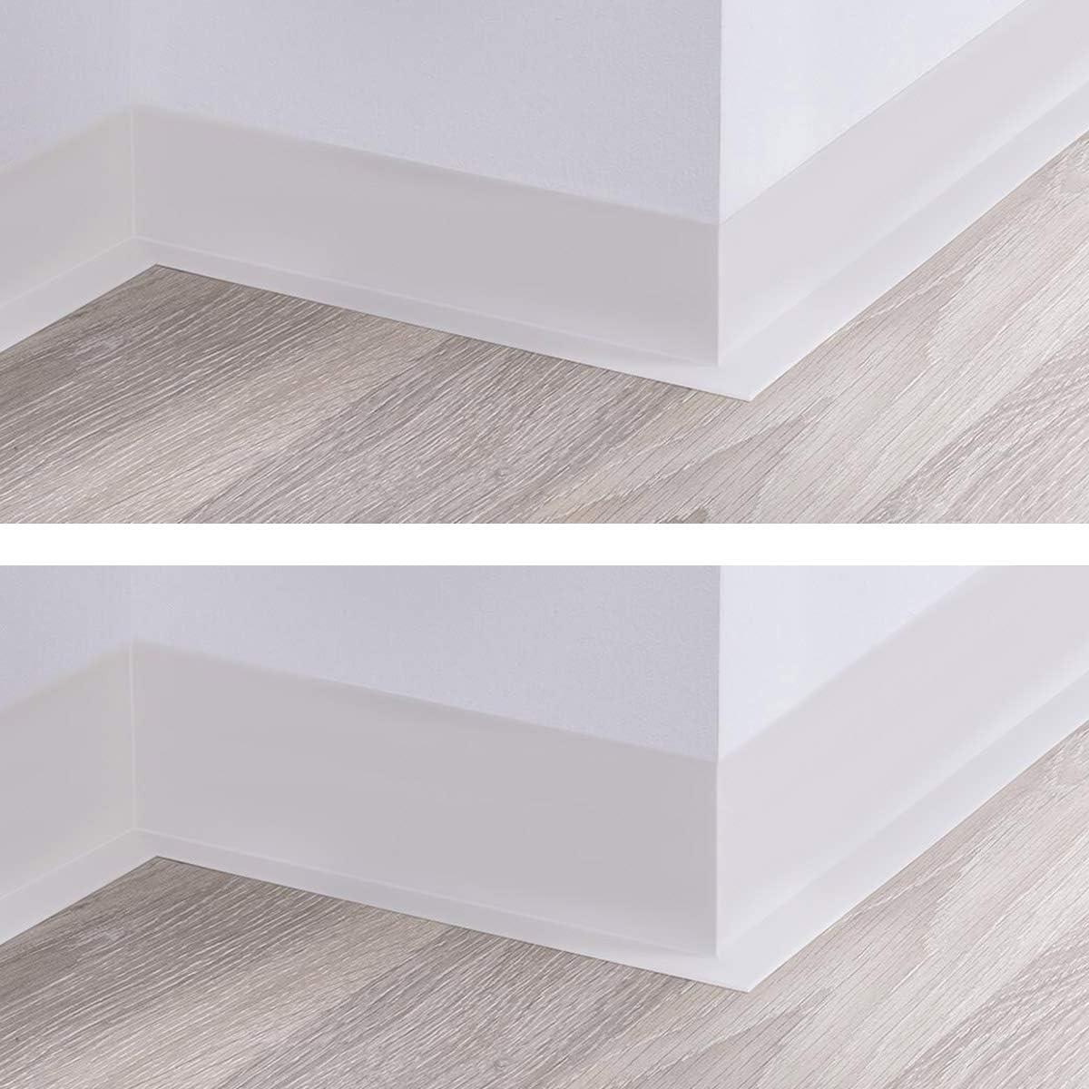 70x20 mm HOLZBRINK Perfil de Suelo Autoadhesivo Suave Blanco Pre Cortado Cinta PVC 10 m