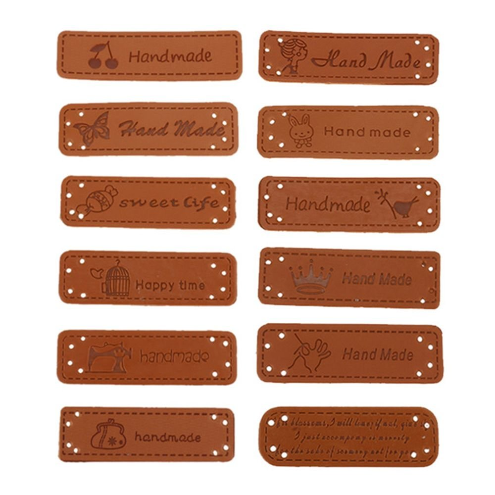 ISKYBOB Set of 24 Handmade Embossed Tag with Holes for Sewing /& Craft DIY