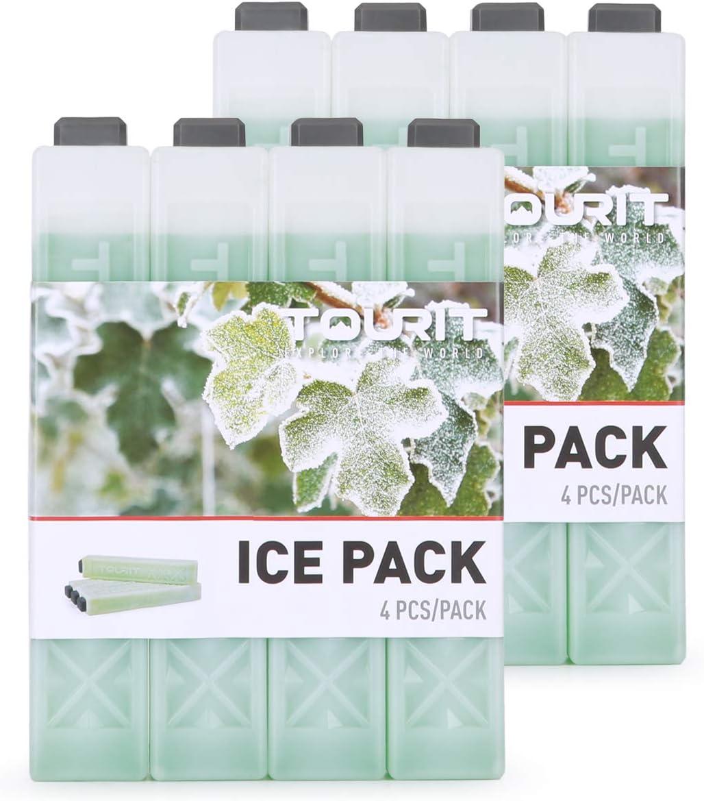 TOURIT Bloc Refrigerant Lot de 4 pour Sac Isotherme Pain de Glace Sac /à Dos Glaci/ère Sac /à D/éjeuner 210 ML Chacun