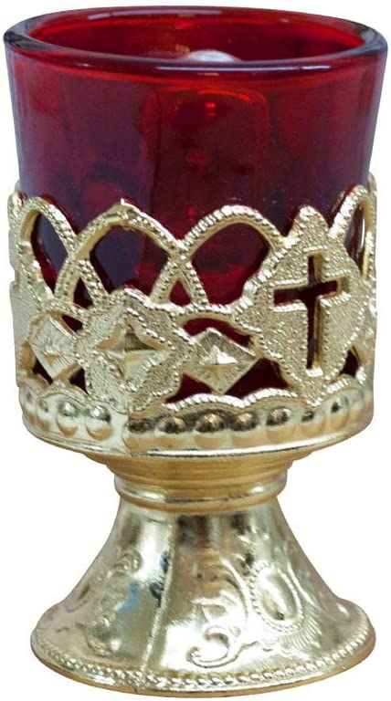 Red and Brass-Colored Home Devotional Candle Holder VILLAGE GIFT IMPORTERS 4 Electric Votive Candle with Brass Stand and Light Bulb Memorial Vigil