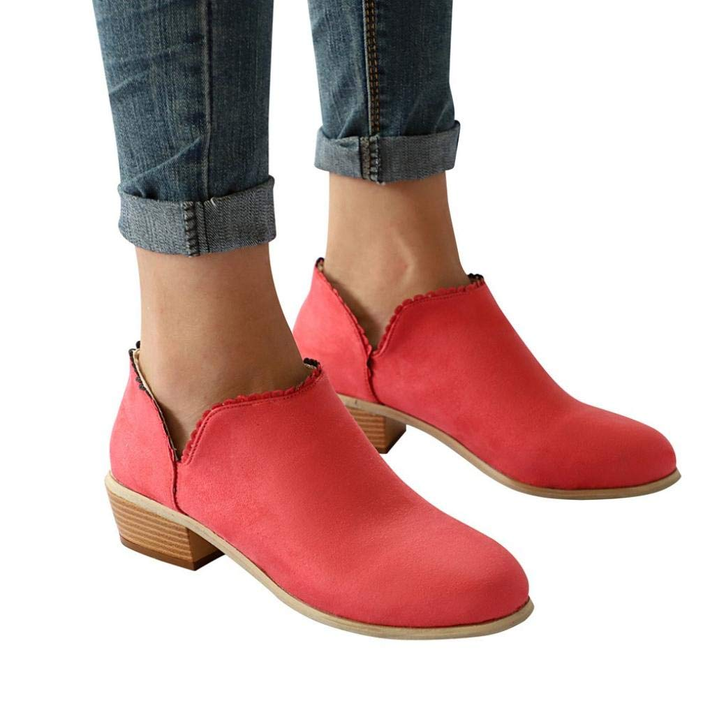 vermers Clearance Women Fashion Round Toe Martin Boots - Women Classic Ankle Boots Casual Shoes(US:7, Red)