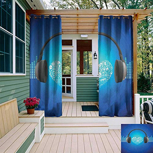 - leinuoyi Music, Outdoor Curtain Pair, Headphones Earphones Heart Shape Disk on Circular Geometrical Background, Outdoor Patio Curtains W84 x L108 Inch Royal Blue and Grey
