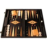 Elegant Wood Backgammon Set - Board Game - Large, Black