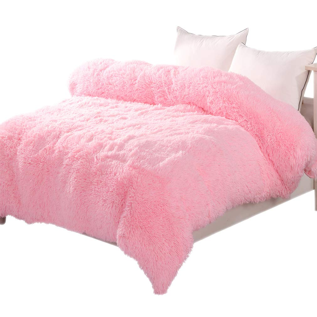 LIFEREVO Luxury Shaggy Plush Duvet Cover 1 PC Crystal Velvet Mink Reverse Ultra Soft Hidden Zipper Closure,Queen Pink