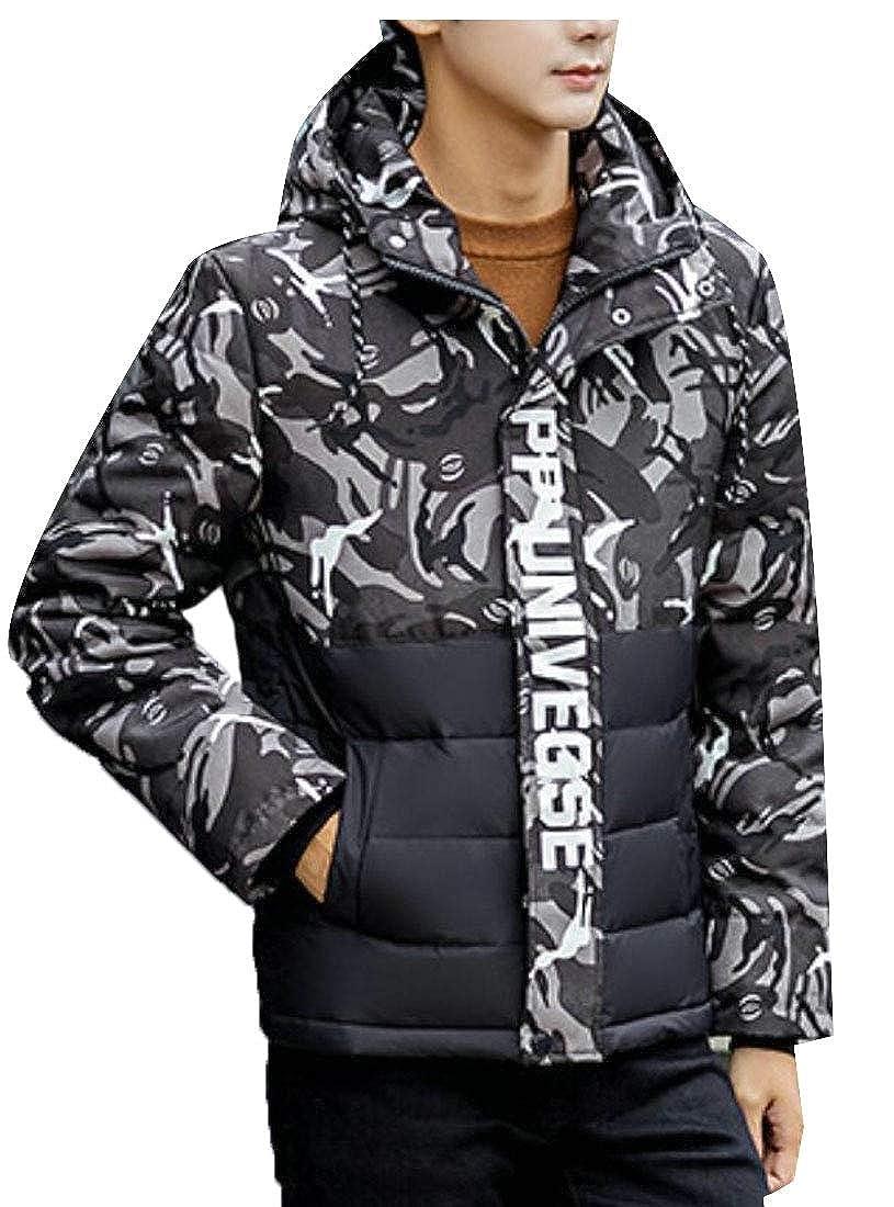 4e25034ef4c3f Black jxfd Men's Hooded Down Jacket Overcoat Camouflage Camouflage  Camouflage Trench Zipper Coat 9bd22e