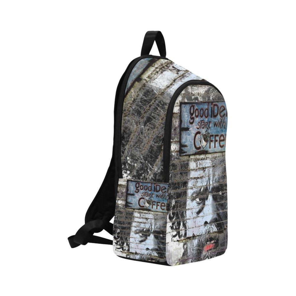 Facial Wall Alley Graffiti Stencil Art Street Art Unique Custom Outdoor Shoulders Bag Fabric Backpack Multipurpose Daypacks For Adult